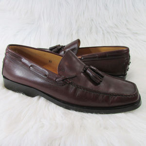 Tod's Burgundy Leather Tassel Front Loafers